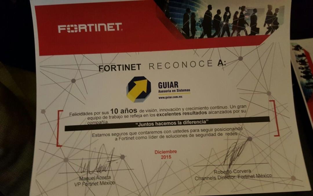 GUIAR Obtiene Reconocimiento a la Lealtad de Fortinet
